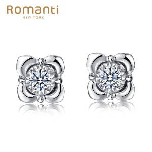 罗曼蒂珠宝白18K金钻石耳钉女款梦中婚礼系列耳饰需定制