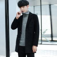 秋冬季风衣男中长款2018新款男士外套韩版个性潮流休闲羊毛呢大衣