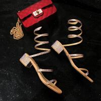 凉鞋女仙女风2019新款夏季蛇形缠绕中跟粗跟罗马绑带鞋ins潮网红 香槟色+彩钻 4.5cm跟高