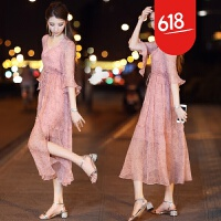 原创女士春装2018新款韩版V领超仙雪纺连衣裙两件套长裙波西米亚裙子GH2 优雅粉