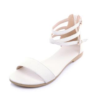 O'SHELL欧希尔夏季上新010-D010-2简约牛二层皮平底鞋女士凉鞋