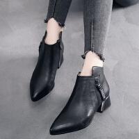 女鞋春秋新款靴子粗跟中跟休闲短靴皮靴百搭尖头英伦风单靴潮