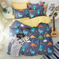 纯棉学生四件套4全棉儿童床上用品三件套3男孩1.2米1.5m床笠蓝色 2米床四件套(适合被子2.2*2.4米) 床单式