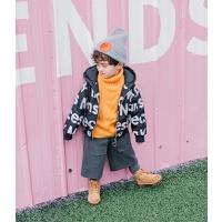 小童字母棉衣冬季男童外套儿童连帽宝宝拉链开衫