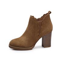 camel 骆驼女鞋 秋冬新款 优雅简约高跟短靴 花边口单靴粗跟女靴子