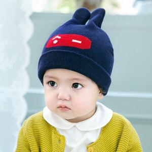 【支持礼品卡 支持货到付款】Yinbeler秋冬新款儿童针织毛线帽宝宝双角卡通棉线包头帽