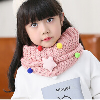 儿童毛线围巾冬季围脖果色女童宝保暖脖套秋冬小女孩