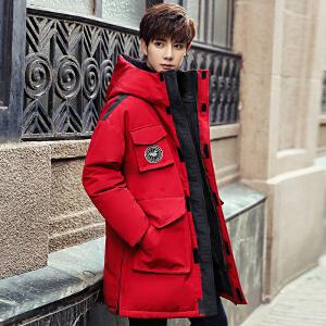 举翼王子锐时尚男士长款羽绒服男女中长款韩版加拿大风格户外工作服装情侣长款羽绒大衣