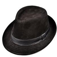 秋冬季仿鹿皮绒男女士保暖爵士帽中青年真皮礼帽绅士帽