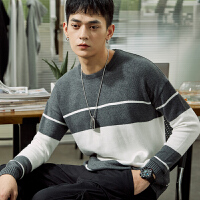 【5折价67元】唐狮春装新款男圆领大拼接线衫针织毛衣青年宽松时尚毛衫Z