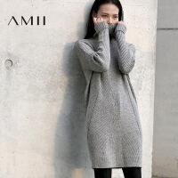 【1件7折/2件5折 再用券】AMII[极简主义]冬装新款休闲镂空高领加厚长袖连衣裙女装短裙