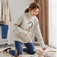 【限时抢购】唐狮春秋季新款毛衣女半高领甜美可爱套头粗毛线宽松外穿上衣