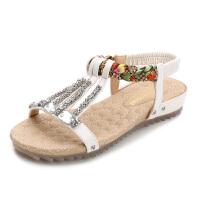 凉鞋女夏季2019新款韩版百搭罗马平底鞋女士民族风波西米亚鞋子潮