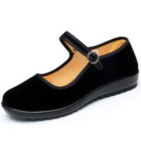 老北京布鞋女鞋黑色工作单鞋圆头女式平底平跟酒店上班礼仪舞蹈鞋 40 偏大