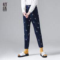 初语2017夏季新品裤子 纯棉啤酒印花显瘦休闲长裤女 时尚潮搭下装
