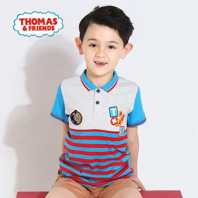 [满200减100]托马斯童装正版授权男童夏装时尚衬衫领纯棉印花短袖T恤polo衫