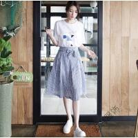 半身裙上衣短裙上下两件套2018夏季韩版时尚气质连衣裙潮 白色 T恤加半身裙