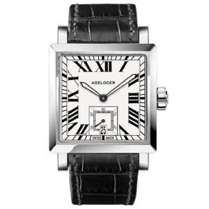 艾戈勒全自动机械表男表男士方形皮带真皮手表时尚潮流腕表男1