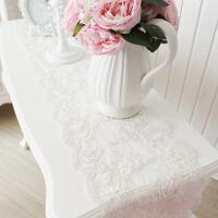 【人气宝贝】BeautyDream韩式公主蕾丝水晶吊坠餐桌旗桌布欧式白色简约茶几旗 白色【 图片色