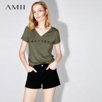 【五折再叠20元优惠券】Amii[极简主义]2018夏装新款休闲修身v领T恤女短袖上衣