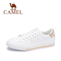 camel/骆驼女鞋  秋季新品舒适透气平跟板鞋单鞋时尚百搭撞色小白鞋
