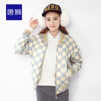 【1.5折价59.9元】唐狮冬装新款棉衣女印花箱型长袖印花棉衣韩版短外套