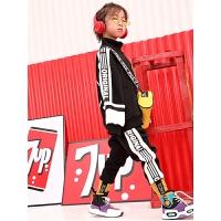 男童加绒套装儿童街舞嘻哈洋气运动卫衣秋