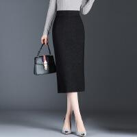 加厚针织毛线包臀半身裙女秋冬裙子2018新款显瘦包臂中长款一步裙 黑色(1825长款73CM) 均码