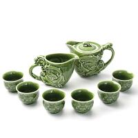 乾唐轩活瓷新龙首绿釉1壶1海六杯茶具套组功夫茶具茶壶茶海茶杯礼盒