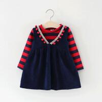 2018新款童装女童裙子套装春秋季儿童衣服0一1-3岁小女孩宝宝春装 红色 V领条纹裙套