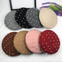 羊毛珍珠贝雷帽女秋冬韩版画家文艺毛呢南瓜帽网红款气质蓓蕾帽子