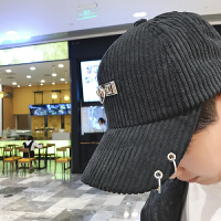 帽子男冬季棒球帽男时尚韩版潮鸭舌帽个性字母冬天加厚保暖帽男帽