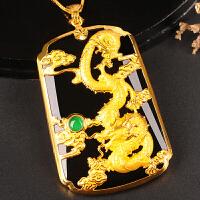金镶玉吊坠 龙牌男女款足金和田玉生肖龙挂件黄金龙玉佩 墨玉游龙戏珠