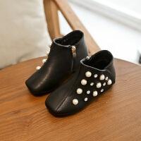 女童短靴子春秋2017冬季新款低筒儿童马丁靴子加绒保暖公主单靴女