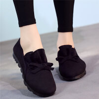 春秋季老北京布鞋女鞋单鞋平底黑色工作鞋一脚蹬防滑大码41豆豆鞋