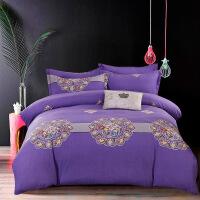 御目 床上用品 新款纯棉全棉斜纹活性印花四件套被套被罩床单枕套三件套套件婚庆用品家居用品
