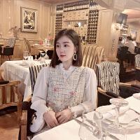 潞娜小香风套装裙女2018秋新款荷叶边衬衫加粗花毛呢背心两件套 一套