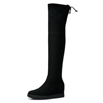 camel/骆驼女鞋  秋冬新款 黑色简约系带长筒靴子内增高平底长靴女