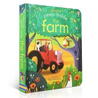 顺丰发货 Peep Inside the Farm 偷偷看里面系列:农场 英文原版洞洞书 儿童宝宝翻翻书绘本 互动游戏知识绘本 英国Usborne 纸板书
