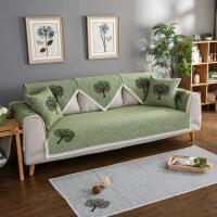 四季棉麻沙发垫布艺防滑皮沙发套子 夏季纯色简约沙发罩