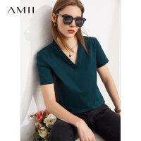 Amii极简凉感纯棉短袖小冰T恤女2021年夏款小众显瘦V领丝光棉上衣