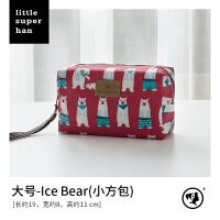 化妆包大小号便携可爱韩国随身大容量手拿包防水手提化妆手拿包 红色 Ice Bear-大号