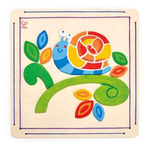 【特惠】HapeDIY涂鸦木贴画-快乐蜗牛4-6岁益智早教儿童玩具绘画手工E5112