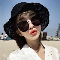潮沙滩猫眼镜太阳镜女复古原宿风黑色墨镜女网红