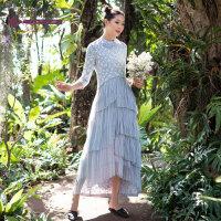 生活在左2019夏季新款女装纯棉七分袖连衣裙中长款蛋糕裙子