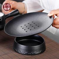 粗陶日式双层干泡盘功夫茶具单品茶盘壶承小号黑色茶托储水茶海
