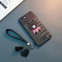 新款苹果8plus手机壳挂绳iphone7卡通Xs Max可爱女款6sp软套XR潮X 6/6s 4.7寸(啡黄款)