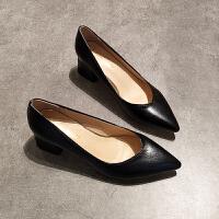 尖头单鞋女浅口粗跟高跟鞋中跟时尚职业上班工作鞋黑色春秋5cm