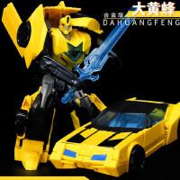 �形玩具5合金版大�S蜂 恐��擎天之柱�形汽��C器人男孩套�b正版