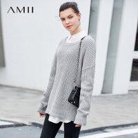 Amii极简慵懒风气质毛衣女2019春季新宽松大圆领落肩套头长袖上衣